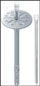 Kotvení tepelných izolací fasády - talířová hmoždinka s kovovým trnem