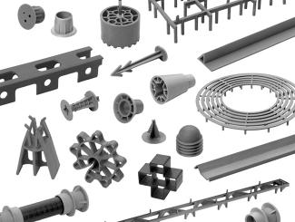 Ocelové profily a betonářská výztuž - příslušesntví - distanční prvky pro vodorovnou a svislou výztuž